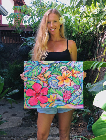 Girl holding tropical flower painting