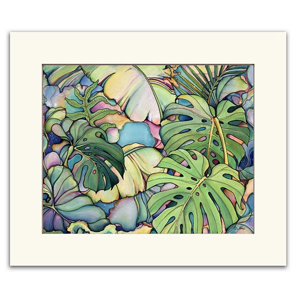 Painting named  Island Oasis with banana and monstera leafs