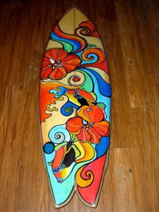 "Aloha  Fish Surfboard with flowers and ""Humuhumus"""