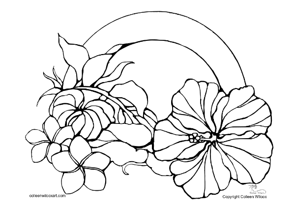 Rainbow Flowers- FREE Coloring page