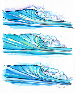 """Ocean Waves"" Sketchbook Unmatted Print"