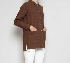 Brown 100% Linen Short Jacket