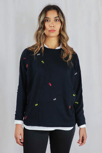 Black Batwing Jumper with Coloured Stitching Detail