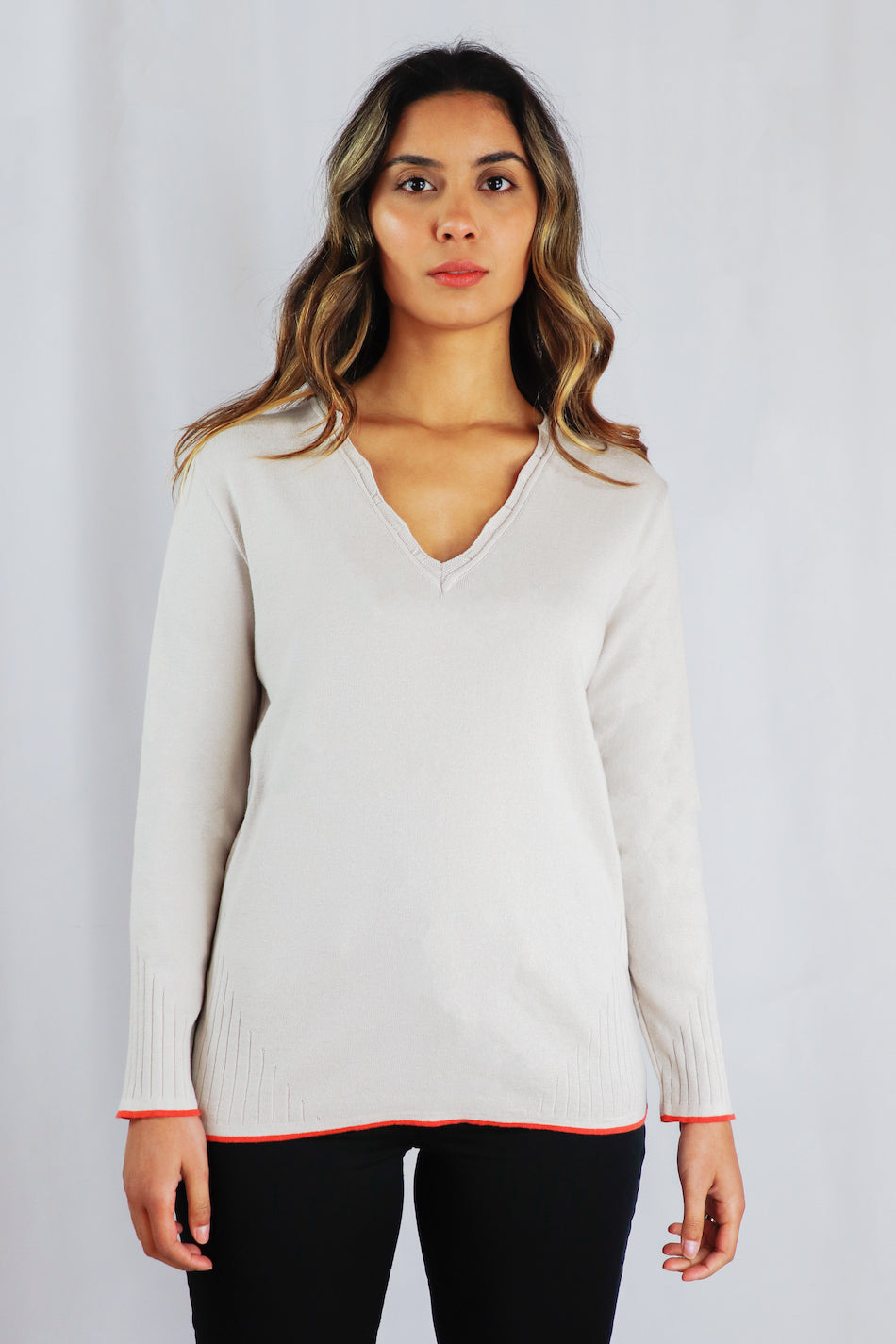 Beige V-Neck Pullover with Scalloped Collar