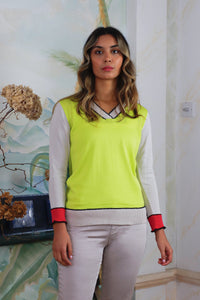Lime V-Neck Jumper