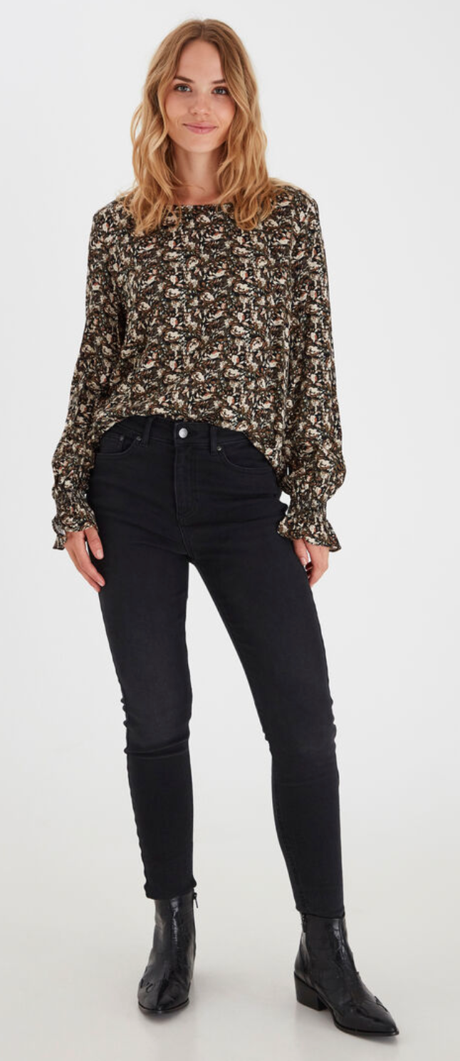 Long-Sleeved Patterned Blouse