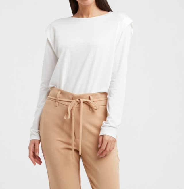 Shoulder Pleat Long Sleeved Top