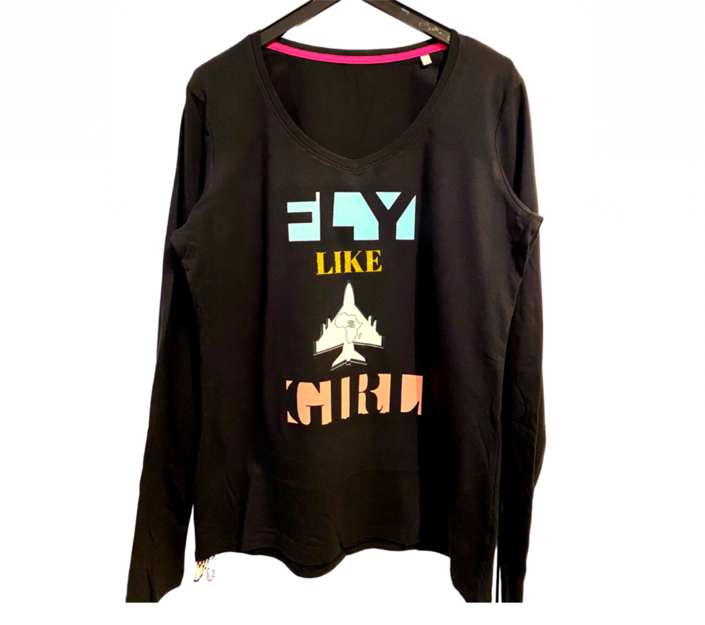 Fly like a girl print on shirt with Ninety-nines logo