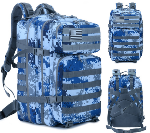 Digital Blue Camo Backpack, 3 Views: Front, Angle and Back