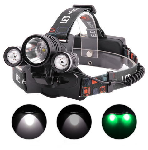 2 Green with 1 White Lights on Headlamp