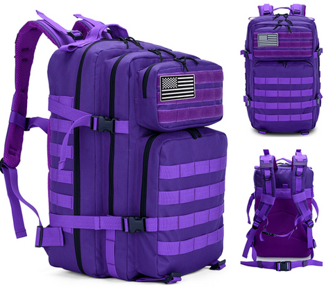 Purple Backpack, 3 View: Front, Angle and Back