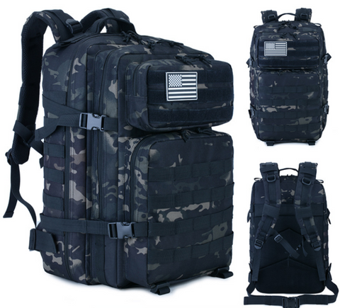 Black CP Backpack, 3 View: Front, Angle and Back