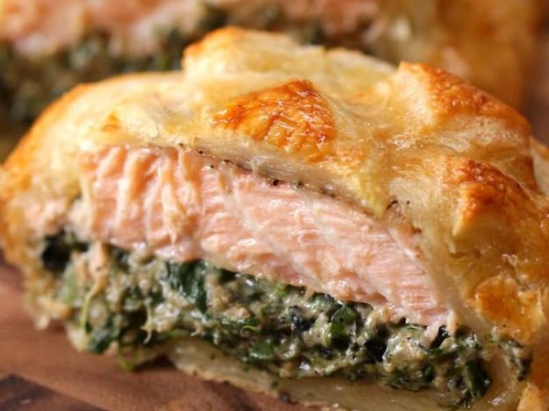 Cheesy Spinach Salmon Wellington - $29.99/Loaf
