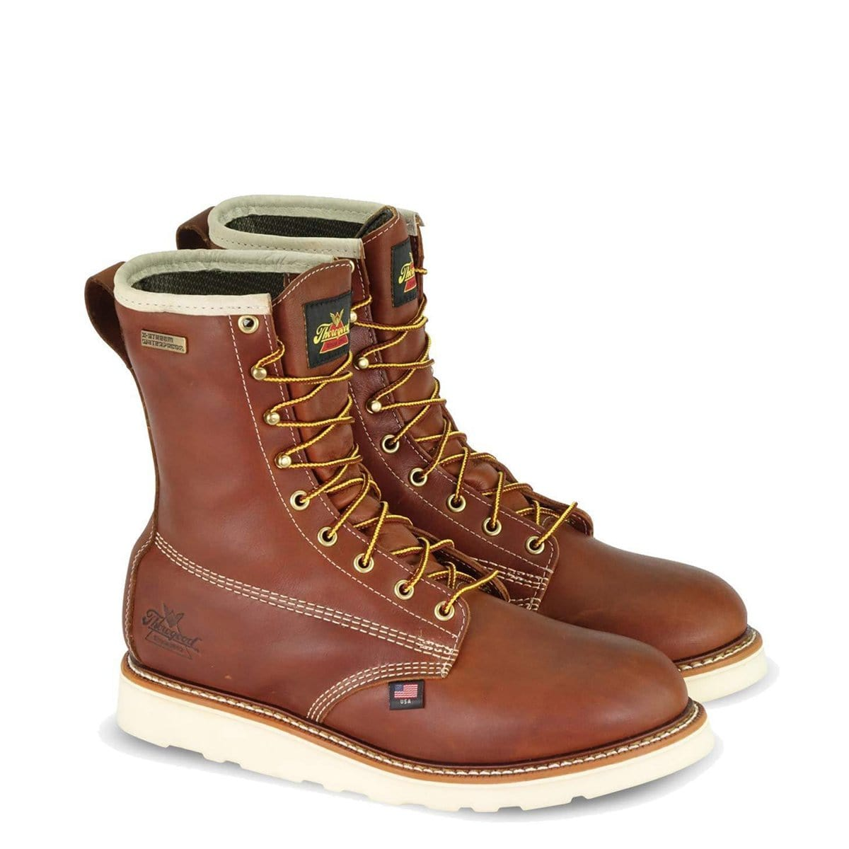 Thorogood American Heritage 8in Round Toe, MAXWear Wedge Waterproof Non-Safety Insulated Work Boots 814-4009