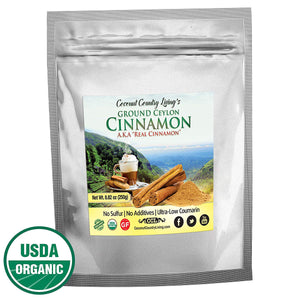 Organic Ceylon Cinnamon Powder, True Cinnamon from Sri Lanka, 8 oz Ground Fresh from Sticks Premium Grade w/E-Book