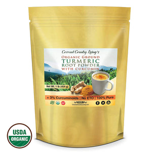 Organic Turmeric Root Powder Raw Spice w Curcumin, 2 lb -2 pack of 1 lb