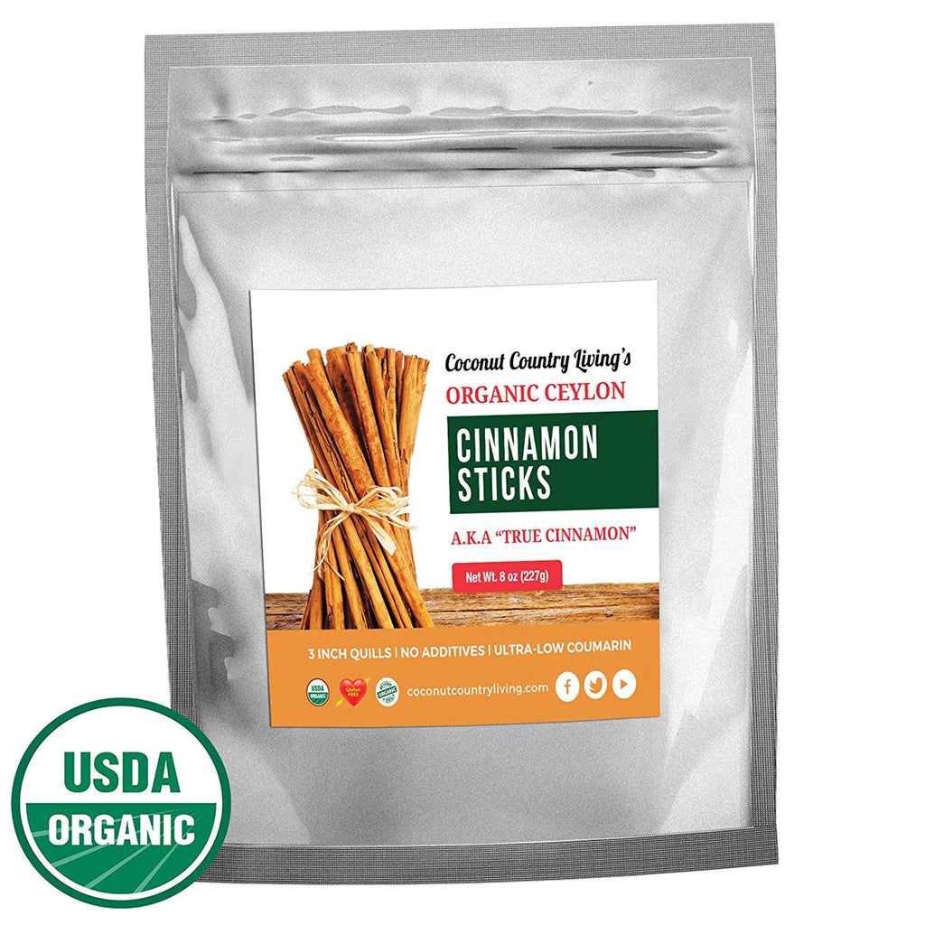 Organic True Ceylon Cinnamon Sticks 8 oz Fairtrade, Freshly Harvested & Packed in Sri Lanka w/E-BOOK Recipes & Crafts
