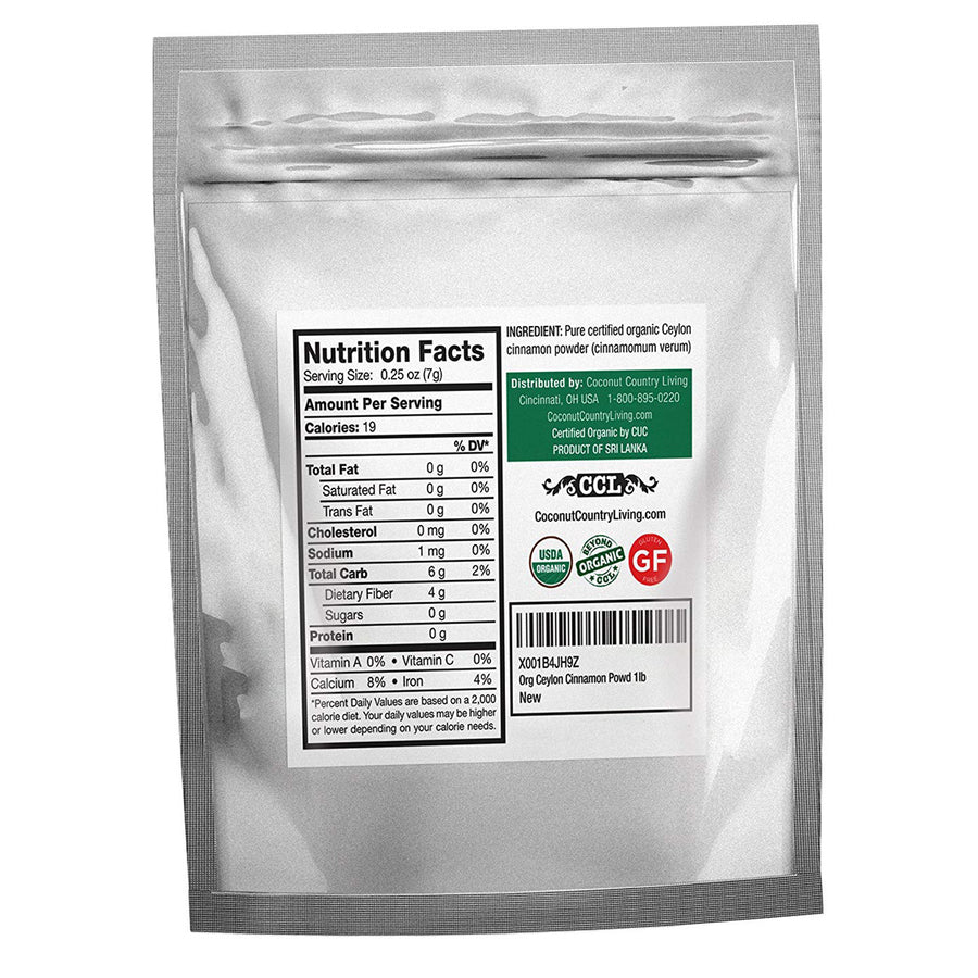 Organic Ceylon Cinnamon Powder Ground 1 lb, Raw, True Cinnamon from Ceylon, Premium Grade