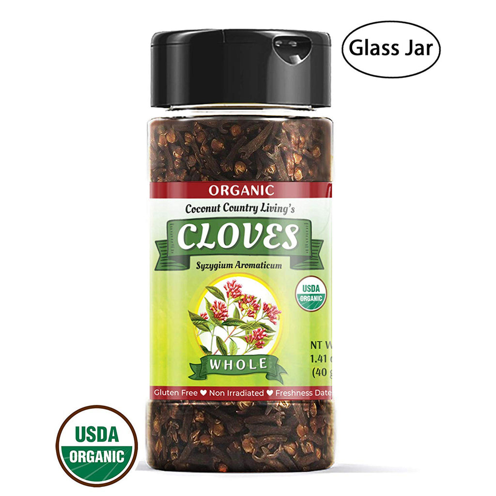 Organic Cloves Whole Raw, Premium Quality Spice Fairtrade in Glass Jar 1.41 oz