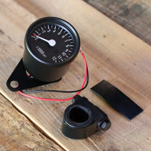 Black Mini Tachometer w/ Clamp (7:1 Ratio) - Cognito Moto
