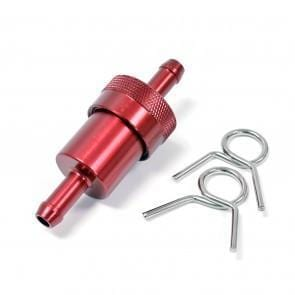"Fuel Filter- Inline CNC Red 1/4"" - Cognito Moto"