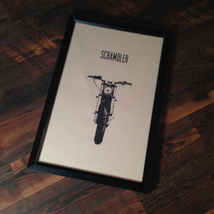 "Limited Edition ""Scrambler"" Motorcycle Framed Poster by Inked Iron - Cognito Moto"