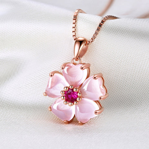 Eternal Love Peach Blossom Rose Gold Colored Necklace
