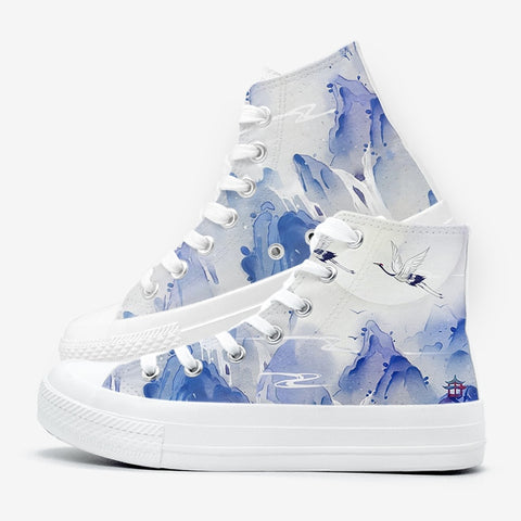 Royal Nirvana Flying Crane Above Mountain Tops Custom Print High Tops Lace Up Shoes