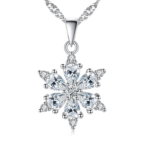 Skate Into Love CDrama Shiny Crystal Snowflake Pendant Necklace