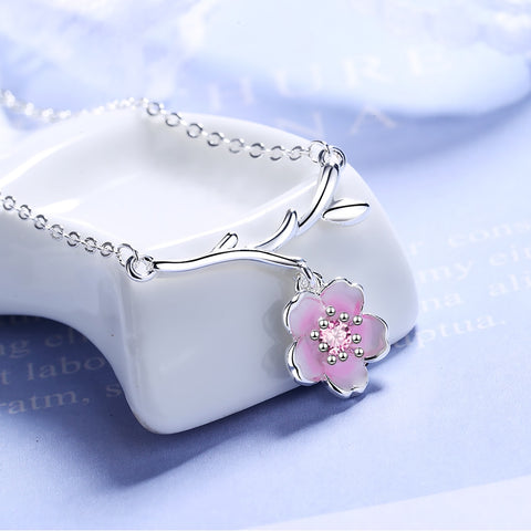 Eternal Love Peach Blossoms Sterling Silver Pendant