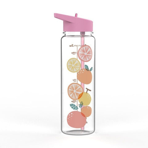 The Romance of Tiger and Rose Cartoon Fruits Water Bottle With Straw