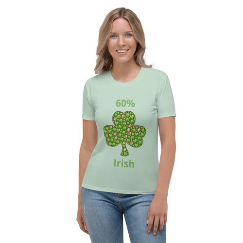 Women's T-shirt  with Shamrocks & Beer Mugs