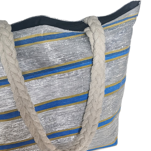 Upcycled Plastic Shopping bag: Silver & blue striped with Yellow Accent