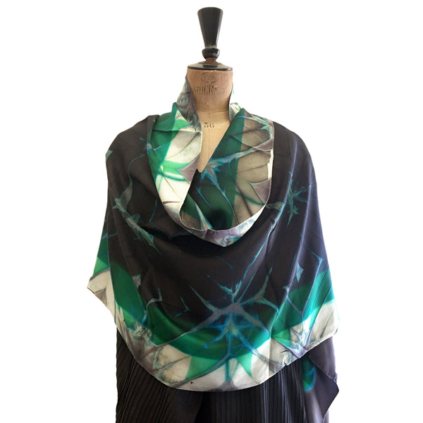 Abstract Clamp-Resist Shibori Twill Silk Stole: Black, Green and Grey