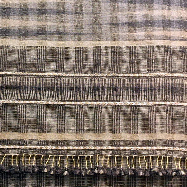 Bhujodi Ikat Eri Silk Stole: Natural Iron Grey