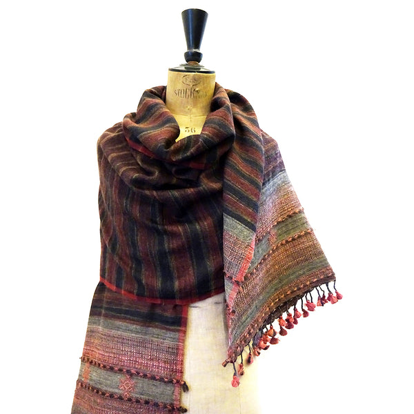 Bhujodi Ikat Tussar Silk Stole: Natural Sappanwood and Iron-Grey