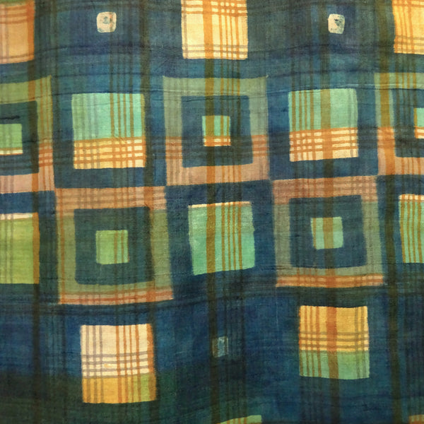 Hand Printed Tussah Silk Stole: Squares: Blues