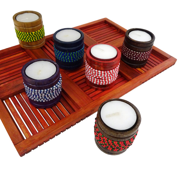 Assorted Beaded Bamboo Tealights: Set of 6