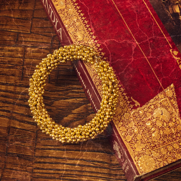 Beaded Bangle: Gold Tone