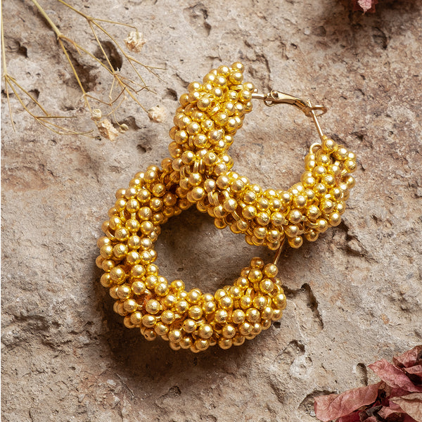 Beaded Hoops: Gold Tone