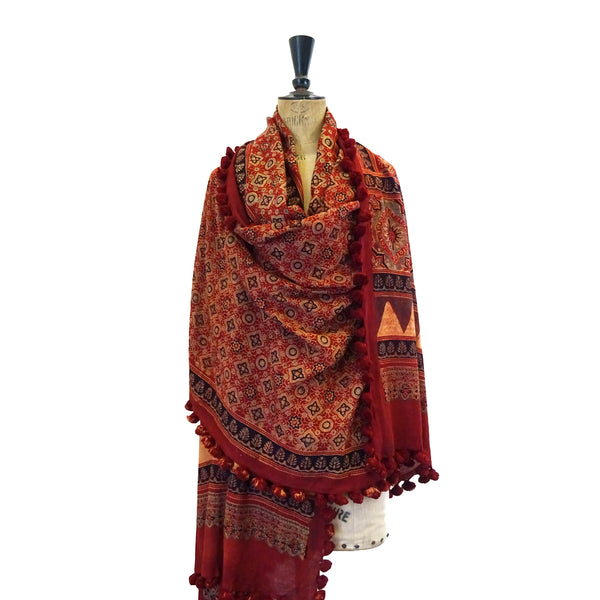 Madder Red Ajrakh Muslin Tasselled Shawl Dupatta