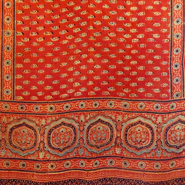 Madder Red Ajrakh Silk Stole