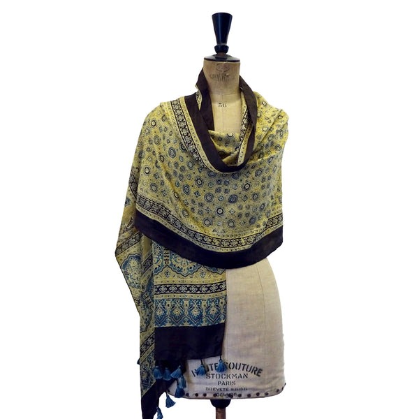 Indigo and Pale Yellow Ajrakh Silk Stole