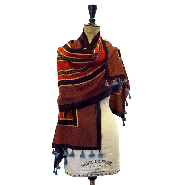 Madder Stripe Ajrakh Cotton Stole