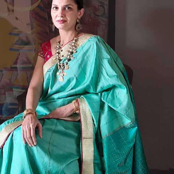 Upcycled Banarasi Silk Sari Aquamarine and Gold