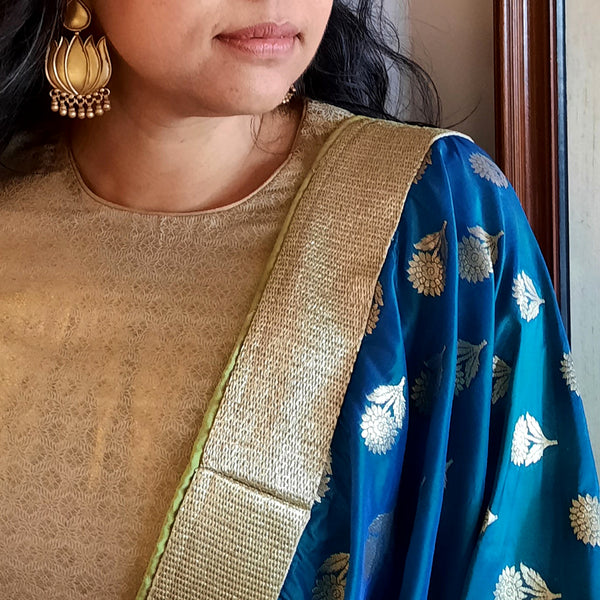Upcycled Brocade Kanjivaram Sari: Blue and Gold