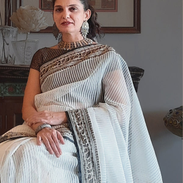 Upcycled Striped Cotton-Silk Sari: White