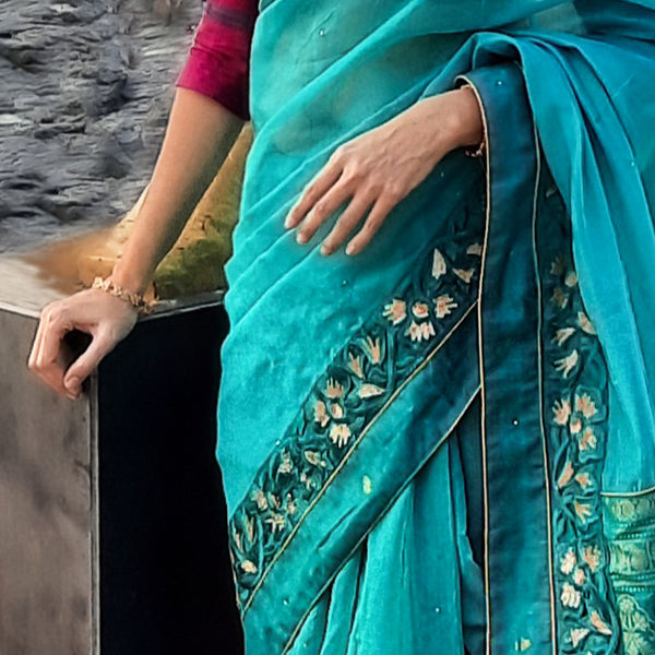 Upcycled Chanderi Sari: Blue and Green