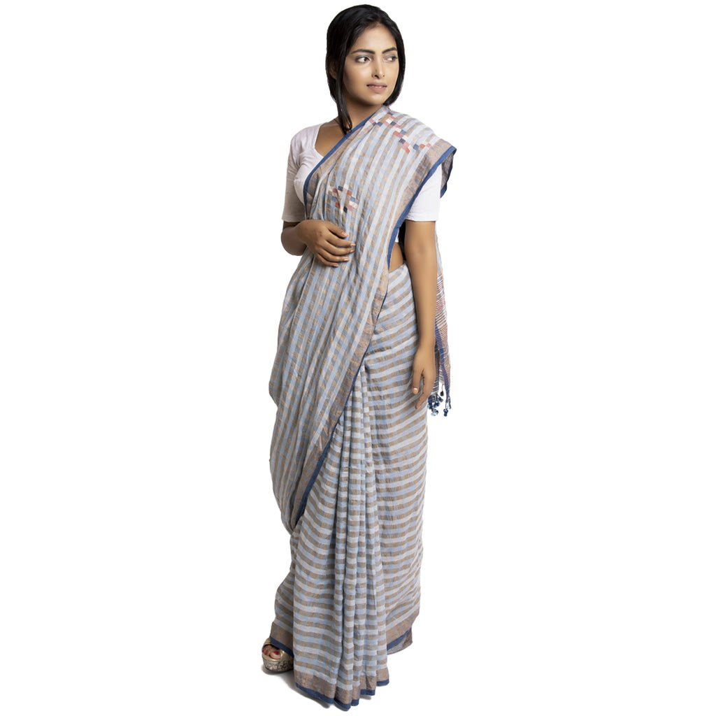 Natural Dyed Khadi Cotton Jamdani Sari: Gamcha II: Grey