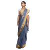 Natural Dyed Linen Sari: Cut Shuttle Zari: Indigo